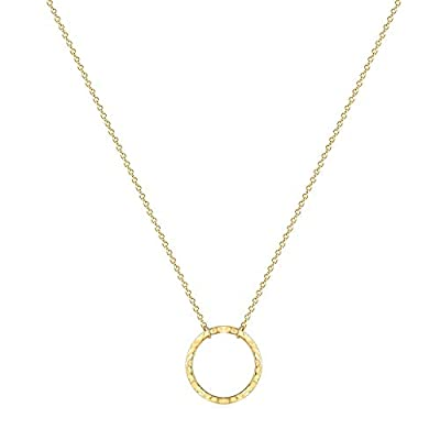 Open Circle Necklaces for Women Dainty Handmade 14K Gold Carved Round Pendant Minimalist Jewelry Mothers Day Jewelry Gift (Larger New Moon)