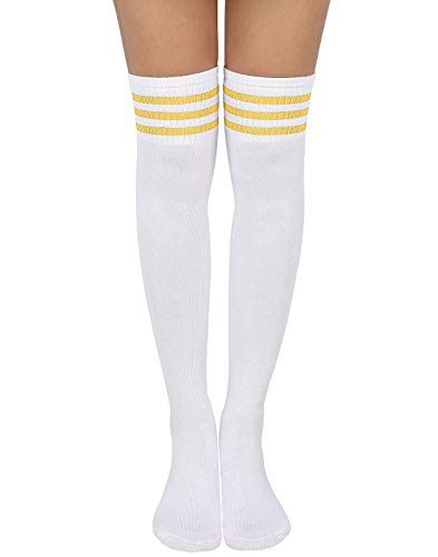 HDE Women Three Stripe Over Knee High Socks Extra Long Athletic Sport Tube Socks (White W/Yellow Stripes)
