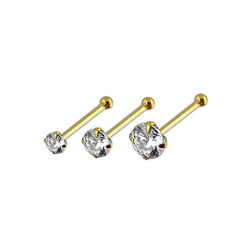 3 Stück Box 14K Set Solid Gelb Gold Klaue CZ Stein 22 Gauge Ende Nase Pin Nase Kugelbolzen Piercing