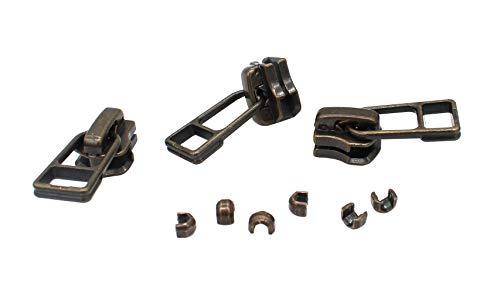 YKK Exposed YKK Fancy Zipper Slider Replacement - YKK #5 Antique Brass Slider with Bell Pull Style (3 Sliders/Pack)