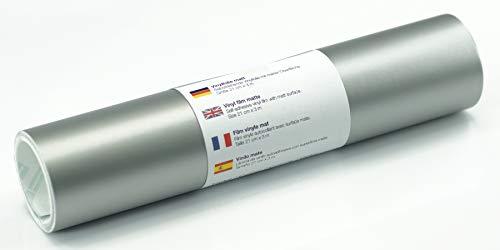 Selbstklebende Wandtattoo-/ Plotterfolie Vinylfolie matt 21 cm x 3 m, Farbe:Silber