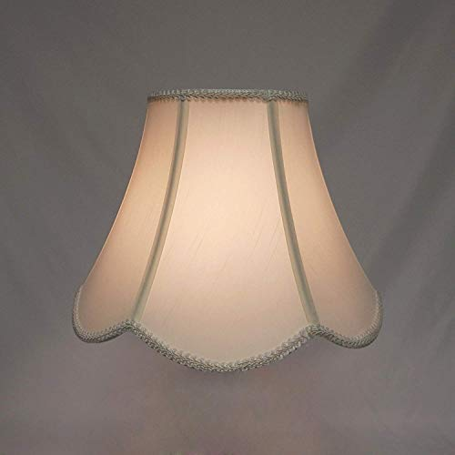 Mestar Decor Round Scallop Bell Geneva Cream Fabric Shade 7x14x11