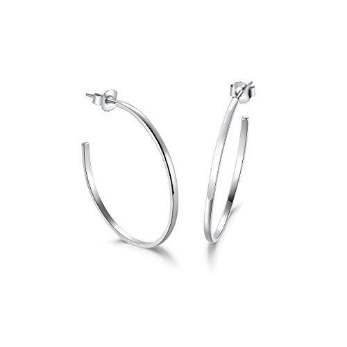 Große Creolen Rund Offene Halbe Ohrringe 2mm-Breit aus Solide 925 Sterling Silber Flach Aussehen Stylische Iconic Schmuck für Damen Mädchen - Durchmesser 36 mm