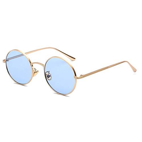 Inlefen Occhiali da sole Uomo Donna Round Retro Vintage Round Style Occhiali da sole Colored Metal Frame Glasses Glasses Oro blu