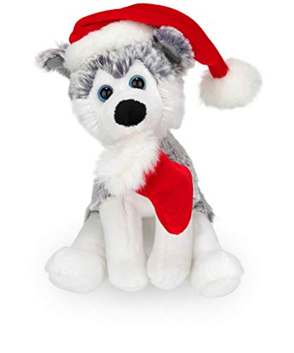 Plushland Xmas Pawpal with Santa Hat Stuffed Animals Plush Puppet Dog 8 Inches for Kids - A Perfect Christmas Day Gift on This Holiday for Babies (Husky)