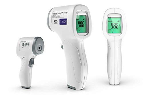 ELYON Infrared Non Contact Thermometer for Body and Surfaces, Instant Accuracy, FDA Cleared, Fever Alarm, Digital Automatic Shutdown, Safe on Humans Forehead, Temple or Wrist, Indoor and Outdoor Use