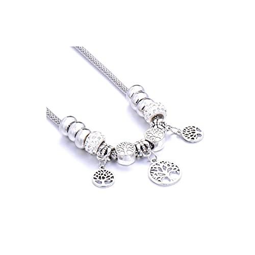 QMT Collar con cuentas de aleación con forma de corazón y colgante de cadena para mujer retro multicapa (color: púrpura)