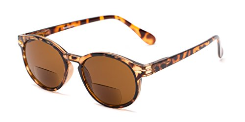 Readers.com Reading Sunglasses: The Drama Bifocal Reading Sunglasses Narrow Round Style for Men and Women - Dark Tortoise with Amber, 2.75