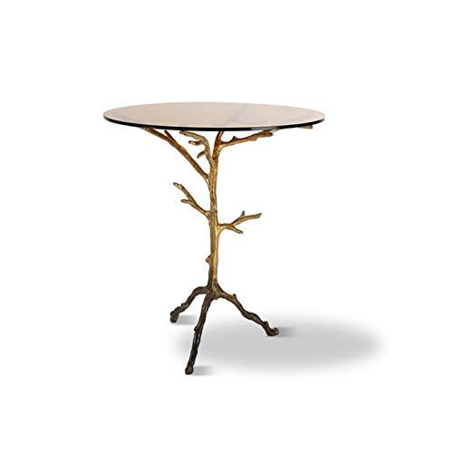 ZXNRTU Diseño simple Mesa de café de escritura funcionamiento del Ministerio del Interior de muebles retro ramitas Mesa auxiliar cristal lateral Mesa redonda Mesa de café Snack-escritorio del ordenado