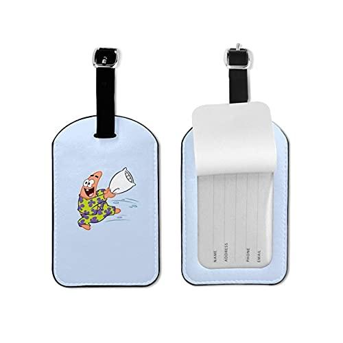 Patrick Star etiqueta de equipaje elegante y exquisita etiquetas de equipaje hechas de piel sintética de microfibra, adecuado para maleta y bolso