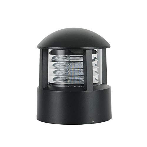 MITOYO LIGHT 1*E27 Moderner Säulenlampen Garten Schwarz Rund Pfostenlichter Aluminium + PC Lampenschirm Sockelleuchte Stigmalampen Türleuchte Hauseingang Beleuchtung Zaun Villa Veranda Wandsäule