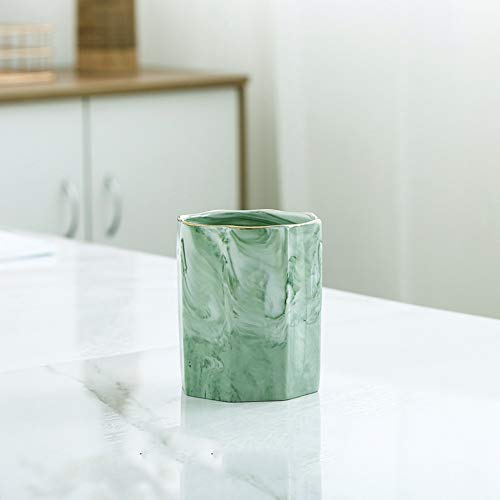 Ceramic Pen Holder Cup Marble Pattern Pencil Organizer Pot Holders for Desk (Green)