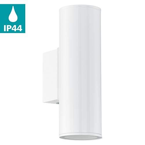 EGLO LED Außen-Wandlampe Riga, 2 flammige Außenleuchte, Wandleuchte aus verzinktem Stahl, Farbe: Weiß, IP44