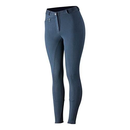 Horze Active Equitación Mujer vollbesatzhose silicona grip, Peacoat Dark Blue(PDB)