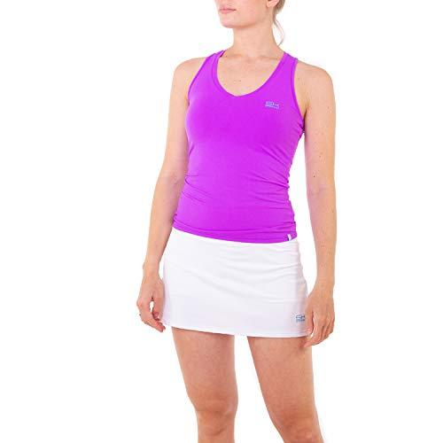 Sportkind Mädchen & Damen Tennis, Fitness, Sport V-Neck Tank Top Racerback, atmungsaktiv, UV-Schutz UPF 50+, lila, Gr. 146