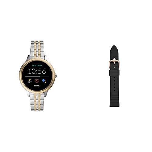 Fossil Connected Smartwatch Gen 5E para Mujer con tecnología Wear OS de Google, frecuencia cardíaca, NFC y notificaciones smartwatch + Correa de Reloj S181369, Negro (Silicona Negra)