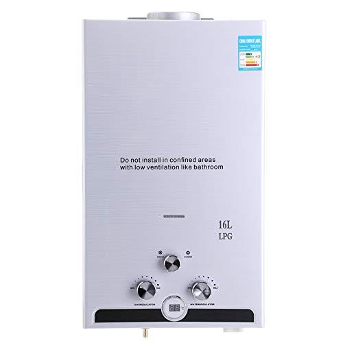 Valens 16L Scaldabagno a Gas LPG Riscaldatore di Acqua Istantaneo Senza Serbatoio a Gas Liquefatto Automatico con Schermo a LED (16L)