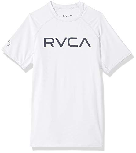 RVCA Boys' Big Short Sleeve Rashguard, Antique/White, S