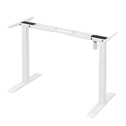 Forfar White Electric Standing Desk Frame Workstation Single Motor Ergonomic Stand Up Desk Base Adjustable Height Width Sit to Stand Legs with Memory Preset Button Controller