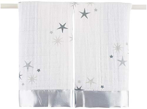 aden + anais twinkle, Schmusetücher, Musselin aus 100% Baumwolle, Rand aus Satin, 40cm X 40cm, 2er Pack