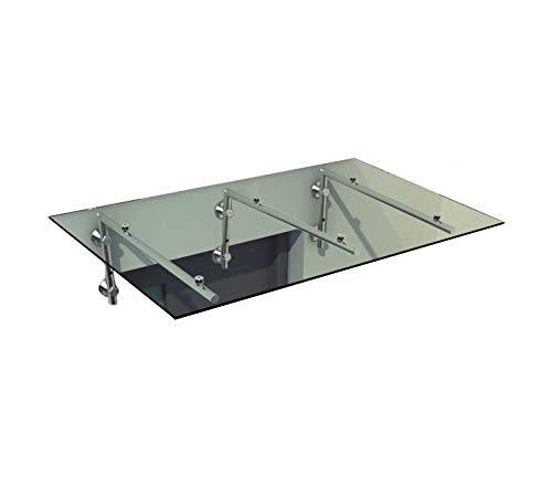 Vordach Glasvordach Türvordach Verbundsicherheitsglas VSG Edelstahl Klarglas (Wahl in 7 Größen & 4 Halterung) (200x90cm (3x L-Halterung))