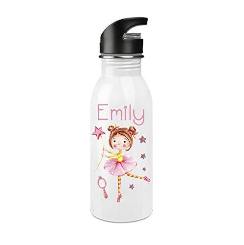 Trinkflasche mit Trinkhalm für Schule und Freizeit / Edelstahl Flasche für Kinder mit Wunschnamen Bedruckt / Füllmenge 500 ml