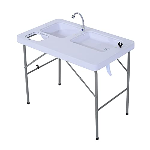 Outsunny Portable Folding Camping Sink Table with Faucet and Dual Water Basins, Outdoor Fish Table Sink, 40''