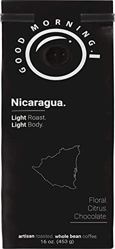 Good Morning Coffee Beans Specialty Nicaragua, light roast, best whole bean coffee %100 arabica, 16 oz, 1lb bag