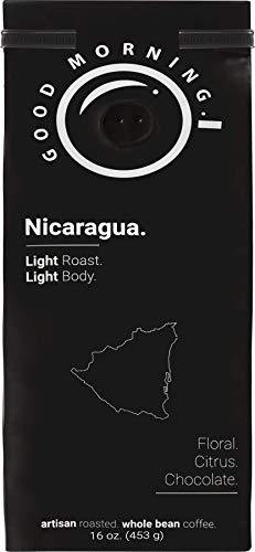 Good Morning Coffee Beans Specialty Nicaragua, light roast, best whole bean coffee %100 arabica, 16 oz, 1lb bag