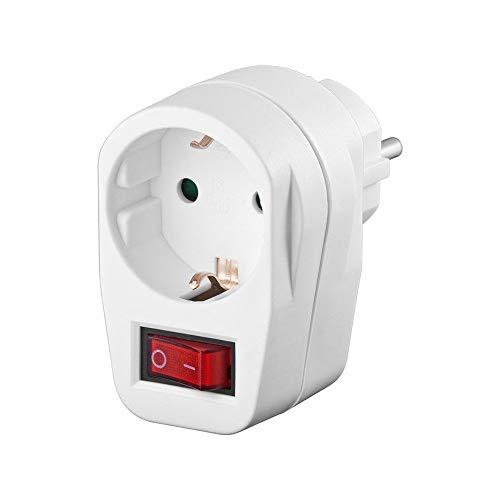Wentronic - Enchufe de protección con interruptor, color blanco