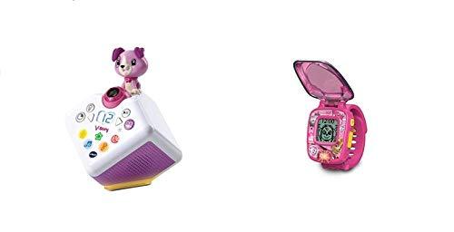 Vtech 80-608064 V-Story, die Hörspielbox pink, Musik-und Geschichtenbox, rosa & 80-199584 Skyes Lernuhr Spielzeuguhr, Mehrfarbig