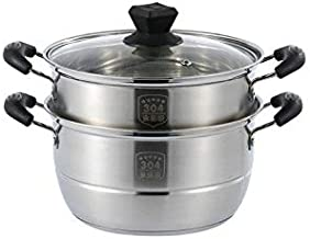 LJBH 304 Stainless Steel Steamer, 22 Cm / 24 Cm / 26 Cm Diameter Steamer, Double Thickening Induction Cooker Gas Stove Hom...