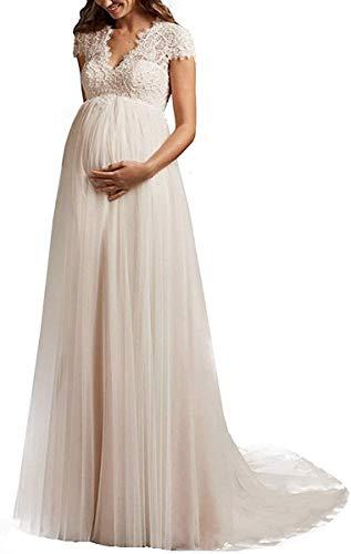Yyoung Umstandsbrautkleid Lang Brautkleider Schwanger V Ausschnitt Spitze Hochzeitskleider Große Größen mit Schleppe Elfenbein 34