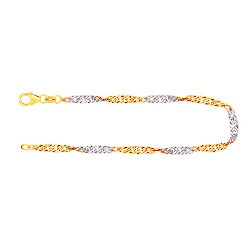 Armband Singapurkette Bicolor Gelbgold/Weißgold 585/14 K, Länge 19 cm, Breite 2.9 mm, Gewicht ca. 2.8 g, NEU