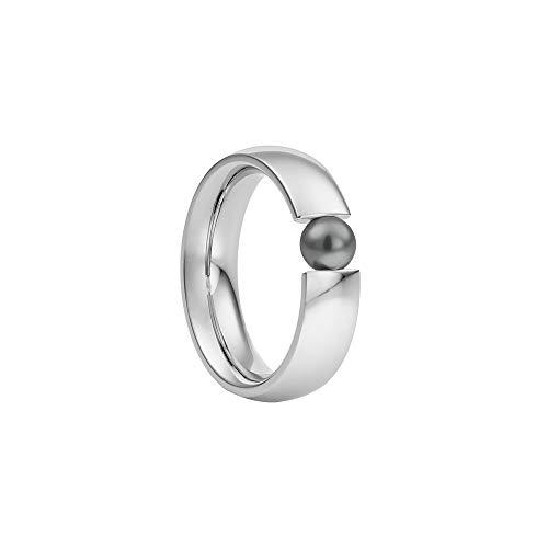 Heideman Ring Damen Globus aus Edelstahl Silber farbend poliert Damenring für Frauen mit Swarovski Perle Weiss oder farbig 5mm rund als Spannring Black Gr.50 hr2006-3-16-50