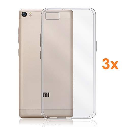 REY Pack 3X Cover in Gel TPU Trasparente per XIAOMI Mi5, Ultra Sottile 0,33 mm, Morbido Flessibile, Custodia Silicone