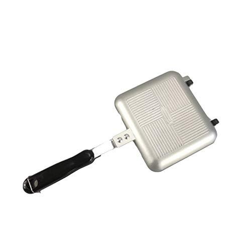 TIYKI Bratpfanne 34,5 * 15 cm Doppelseitengrill Bratpfanne Aluminium Kochgeschirr Werkzeug Pfannkuchen Sandwich Maker Küchenzubehör im Freien 1PC (Farbe: Schwarz)