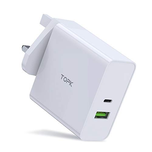 TOPK USB C Charger,87W PD Wall Charger Plug with USB-A Port, Portable Type C Super Fast Charging Adapter Compatible for Macbook Pro/Chromebook/iPad/Laptop/Tablet/Smartphone