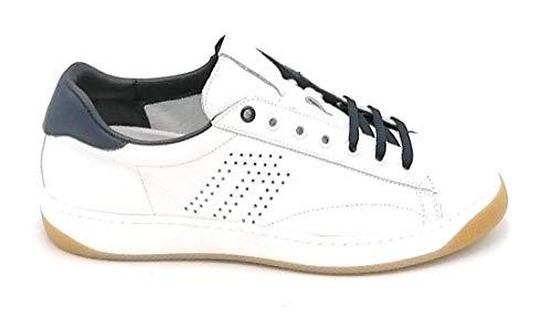 FRAU F2981 Sneaker Pelle Bianca bottalata Bordo Blu U - Taglia Scarpa 41 EU Colore Bianco-Blu