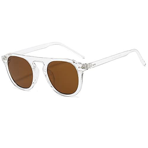 Único Gafas de Sol Sunglasses Gafas De Sol Redondas Vintage para Hombres Y Mujeres, Gafas De Sol Redondas Transparentes
