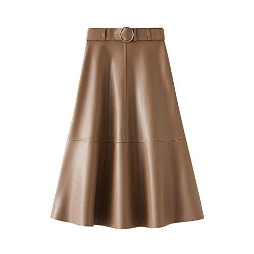 MU-PPX Winter Pu Lederröcke Für Frauen Mid A Line Röcke Reißverschluss Geschlossene Taille Ausgestellte Unterteile Mit Gürtel,Khaki, M