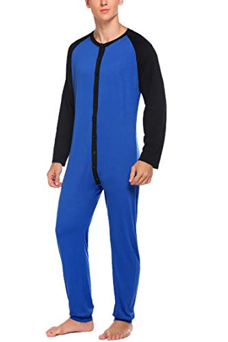 Hotouch Mnes One Piece Long Thermal Underwear Fleece Lined Winter Base One Piece Top& Bottom Set Navy Blue XXL