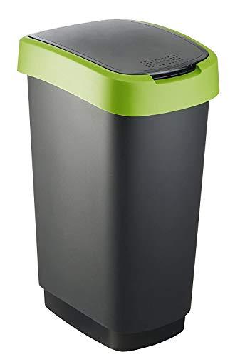 Rotho 1754505519 Twist - Cubo de basura de 50l con tapa, Plástico PP sin BPA, negro, verde, 50l 40.1 x 29.8 x 60.2 cm