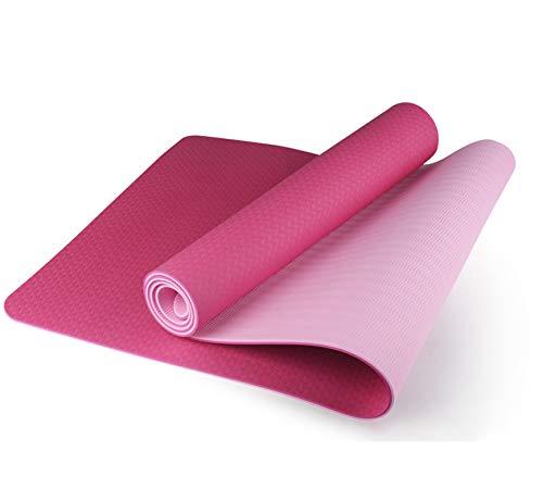 Estera de Yoga Colchoneta de gimnasia antideslizante Colchoneta de yoga con correa de transporte,material ecológico de TPE,antideslizante,duradero y liviano para yoga,pilates y gimnasia(183*61cm*6mm)