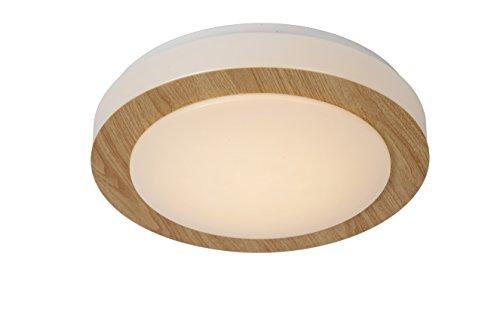 Lucide DIMY - Deckenleuchte Badezimmer - Ø 28,6 cm - LED Dim. - 1x12W 3000K - IP21 - Helles Holz
