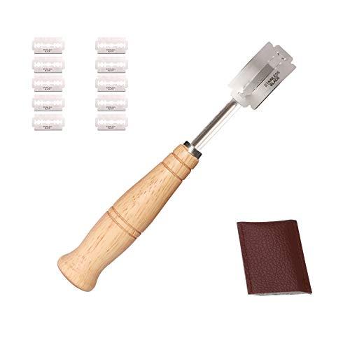 EDATOFLY Pain Boulangers Slashing Outil avec 10 Pcs Lames en Acier Inoxydable, Manche en Bois Pain Faisant Le Rasoir pour la Pâte à Pain Bricolage Ustensiles de Cuisson Cuisine