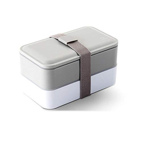 nohbi Lunch Box – Leakproof – Compartimento de almuerzo de estilo japonés de doble capa, caja de almuerzo sellada y fresca, gris, ideal para desayuno, aperitivos escolares para niños y adultos