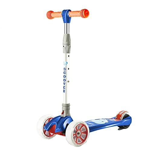 Patinete de 3 ruedas para niños pequeños, patinete para niños con rueda de PU LED para niños y niñas, dirección por gravedad, patinete plegable de altura ajustable para niños de 3 a 12 años,Dark green