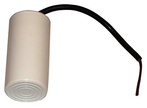AERZETIX - C10512 - Condensatore permanente di lavoro per lotore - 25µF 450V - 42/82mm -con cavo - corpo in plastica cilindrico bianco