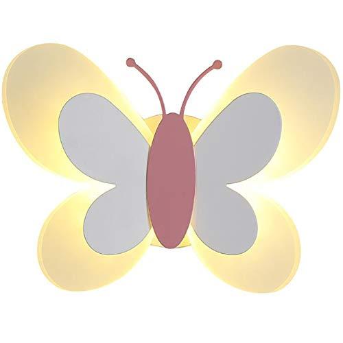 Lyghtzy Applique da Parete Interno Farfalla Carina in Acrilico, Aplique da Parete Interni per Bambini Camera da Letto Arredo Casa (Bianco e rosa,Luce bianca calda)